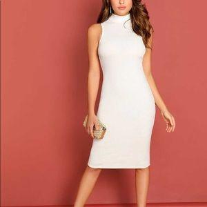 Dresses & Skirts - White mock neck rib knit dress